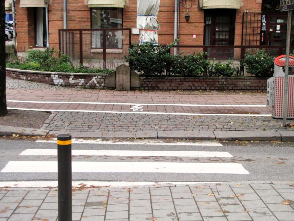 Övergångsställe Linnegatan-Olivedalsgatan med markeringar