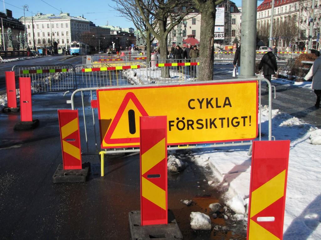 Skylten Cykla försiktigt