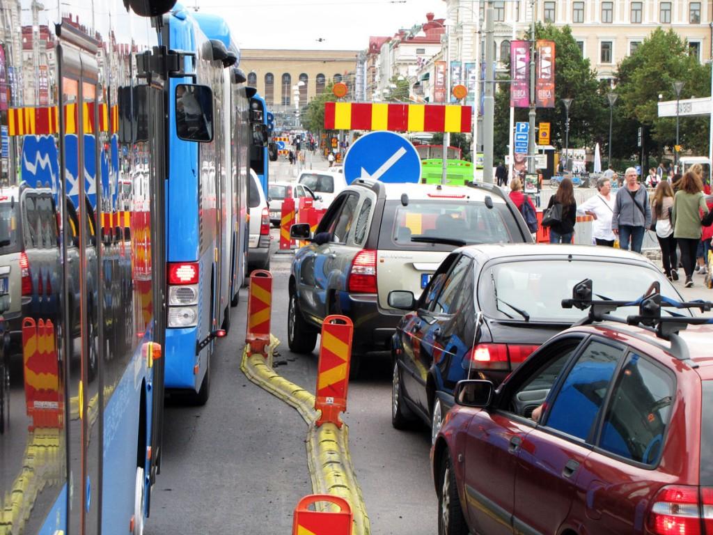 Bilträngsel efter Kungsportsbron mot Storan