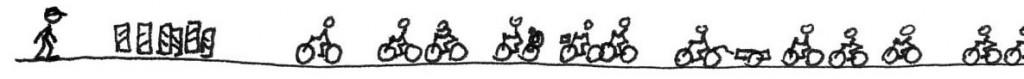 Ovilja att flytta chikaner som hindrar en massa cyklar