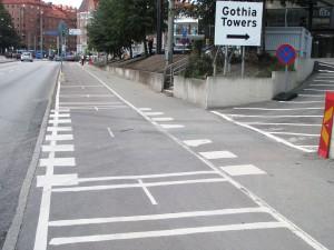 Cykelbana/överfart vid Gothia Towers