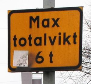 J2-skylt Max totalvikt