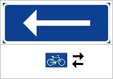 Skylt Enkelriktat med cykel undantagen v2