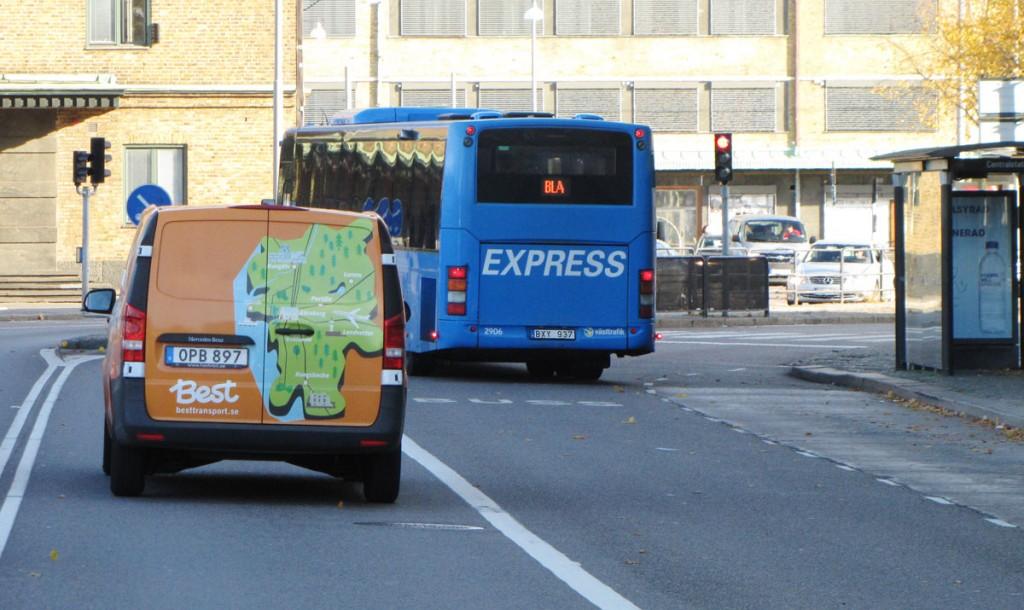 Bussars filval vid Burggrevegatan