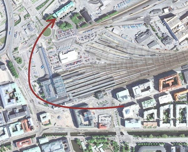 Centralen runt - Resväg i grova drag