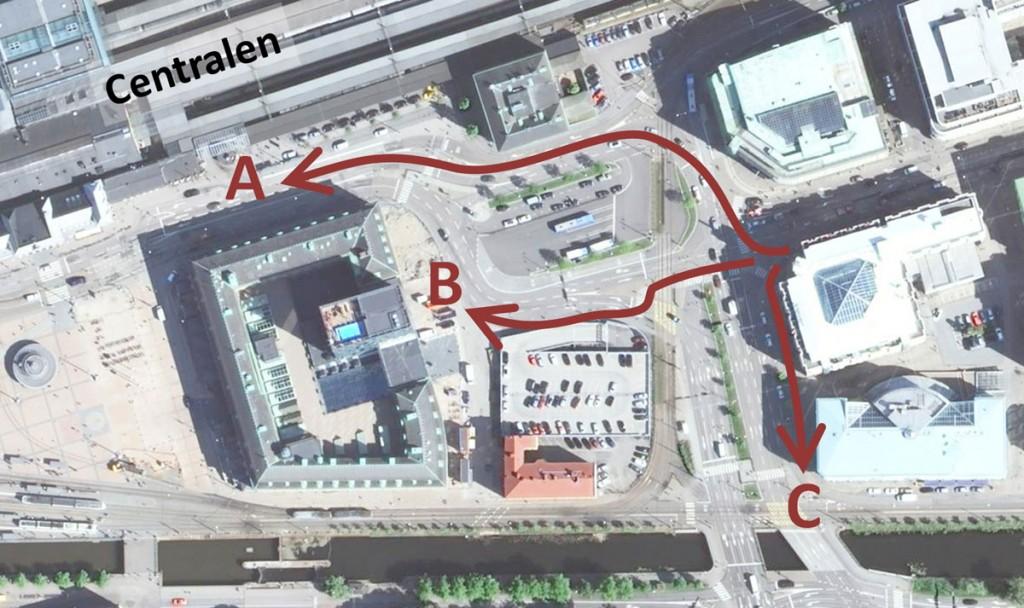 Centralen runt - Sträckorna A, B och C