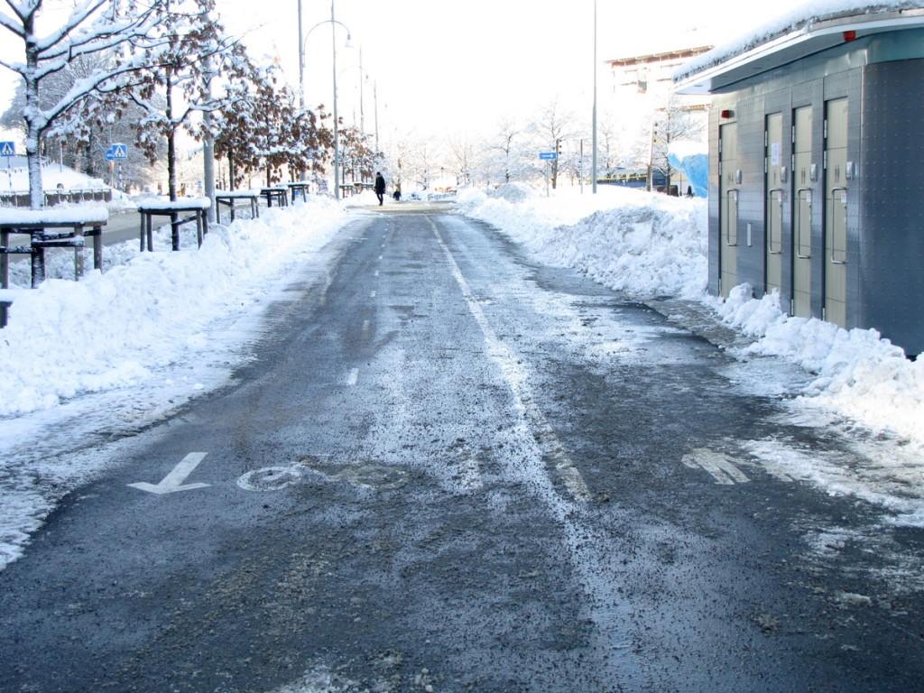 Snöfri cykelbana vid Västra Sjöfarten Gbg