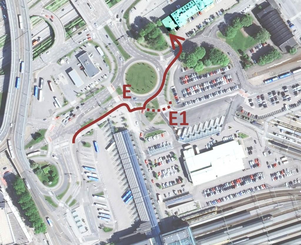 Centralen runt, Resväg E