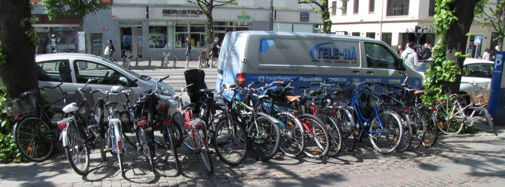 Knökad cykelparkering på Östra Hamngatan