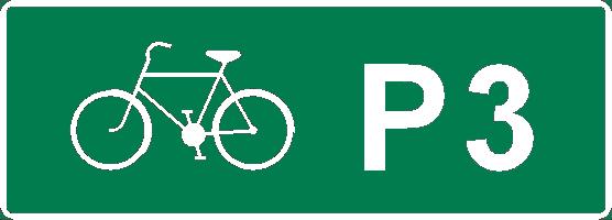 Variant på skylt Cykelled F38 för P3
