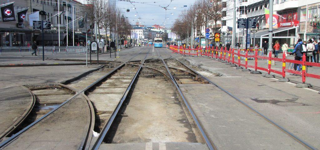 Omledning Avenyn-Valand drabbar inte spårvagnarnas framkomlighet