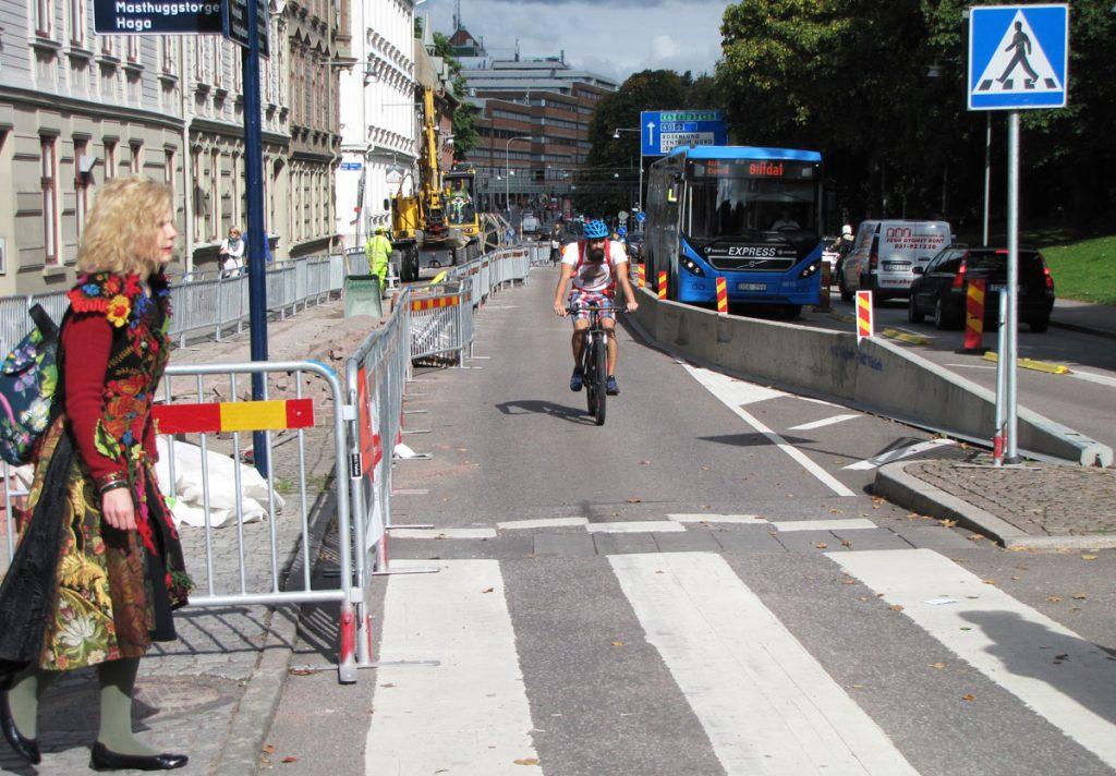 Tillfällig cykelbana på Sprängkullsgatan