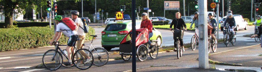 Pendelcyklister vid St Sigfrids plan