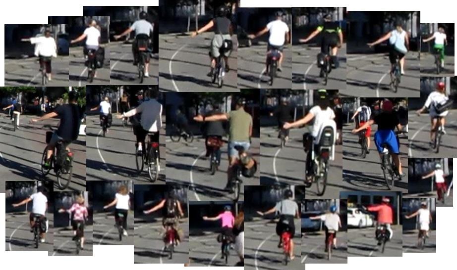 Cyklister mot Södra Vägen ger tecken