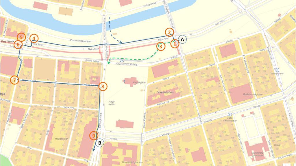 Karta Omledningsskyltning genom Haga