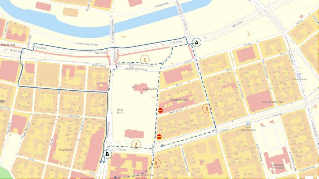 Karta omledningsvägar vid Haga