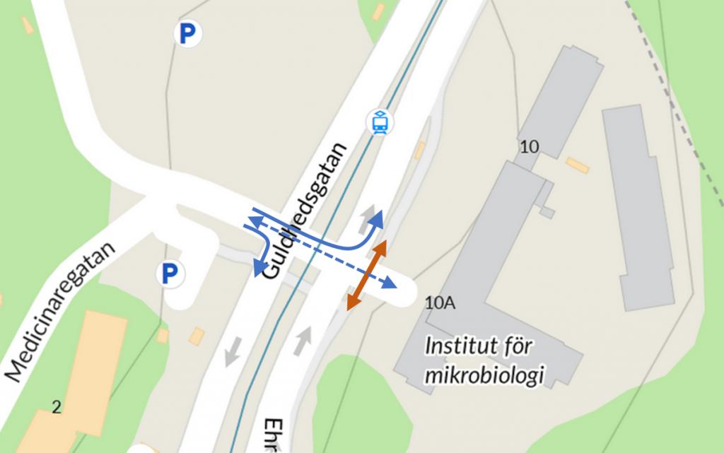 Mikrobiologen, mina pilar på karta från Hitta.se