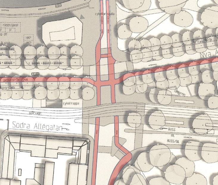 Station Haga: Detaljplanens cykelbanor