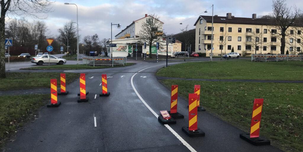 Chikaner på pendlingscykelbanan vid Olbergsgatan