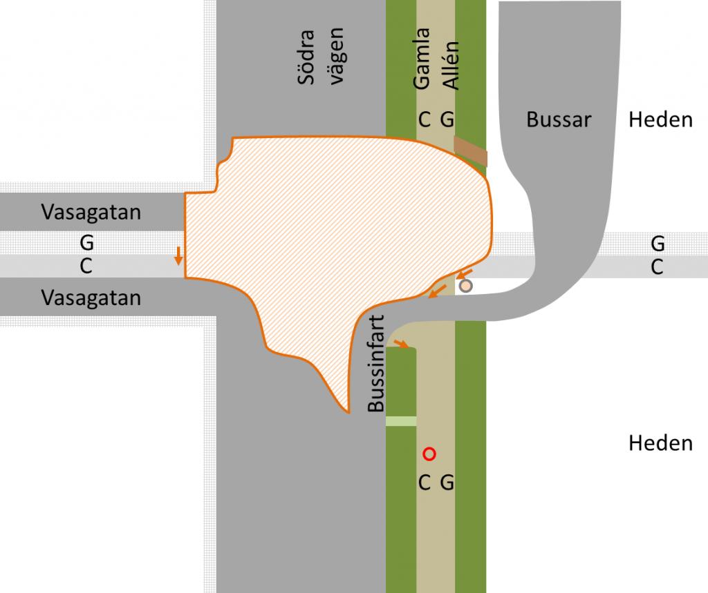 Skiss över avspärrningen vid Södra vägen/Vasagatan