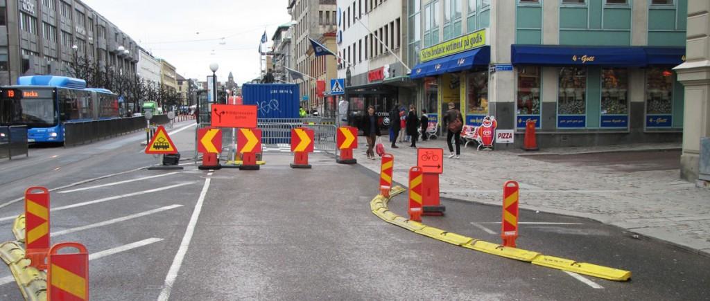 Omedning vid bygge av cyklefartsgata 2014