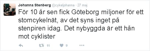 Cykeljohannas tweet om stom-C-nat och Stenpiren