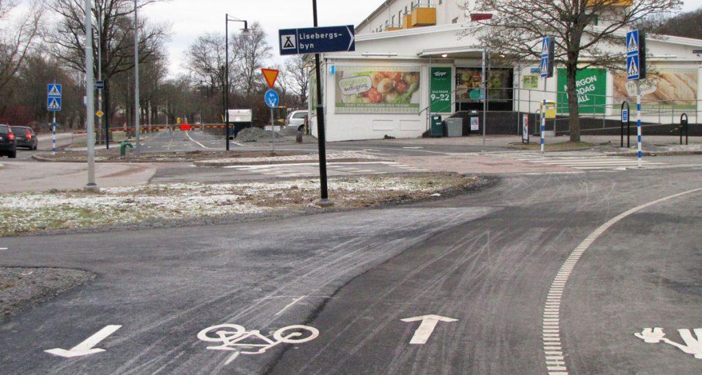 Delsjövägen - Olbersgatans cykelöverfart