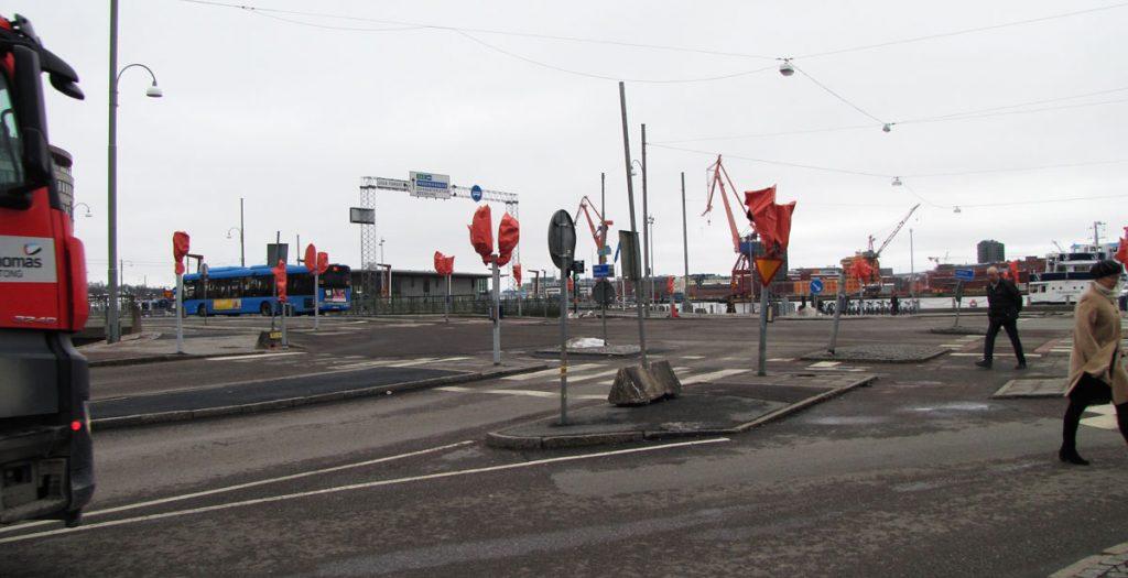Avstängda trafikljus på Packhusplatsen