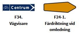 Skylt F34 och F24