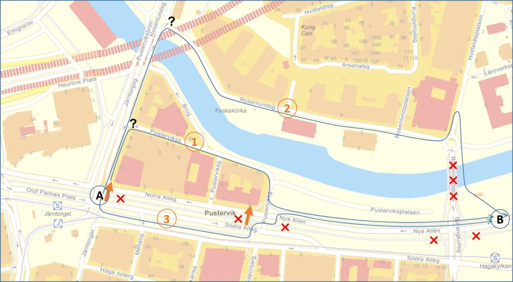 Karta över omledning Puservik