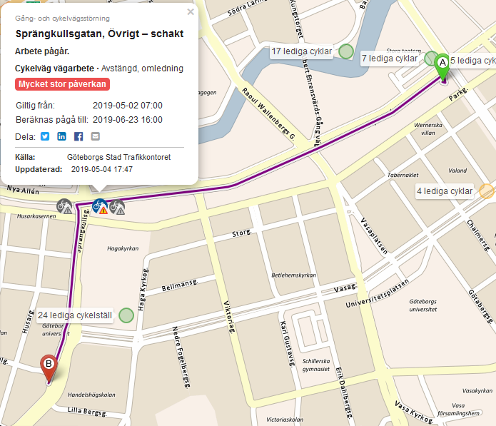 Datorns cykelreseplanerares Hagaväg