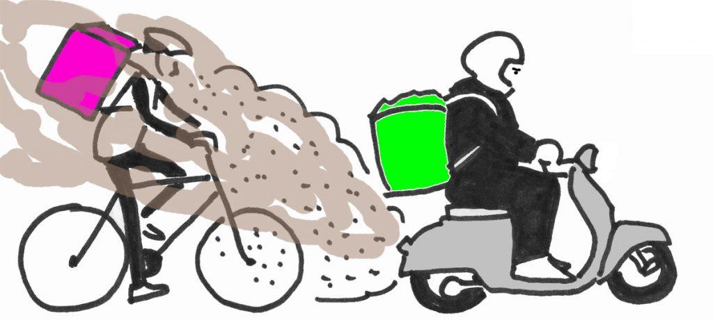 Teckning: Matbud på cykel och moped