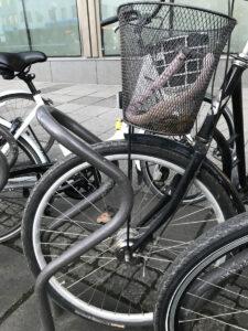 Cykel med korg i Publicus-ställ