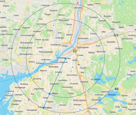 Karta med milperspektiv för cykel