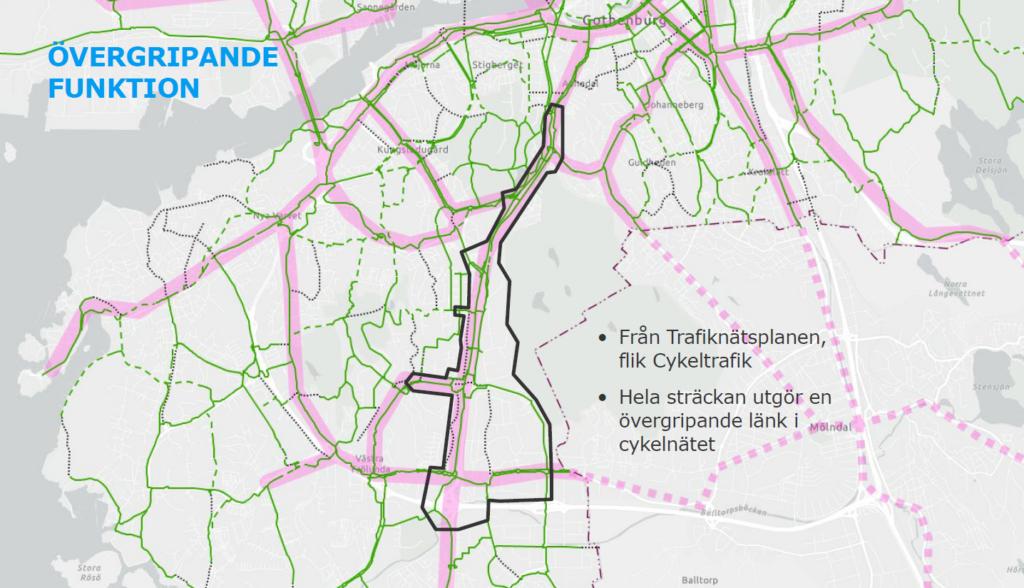 Göteborgskarta med Dag Hammarskjölds boulevardområde